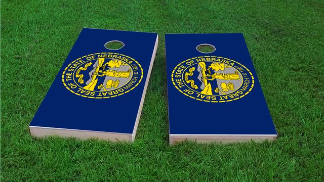 Nebraska State Flag Themed Custom Cornhole Board Design