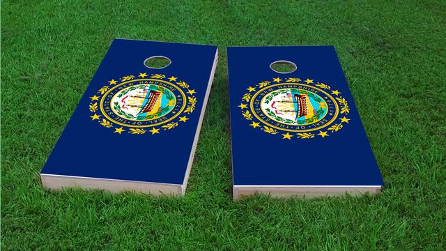 New Hampshire State Flag Themed Custom Cornhole Board Design