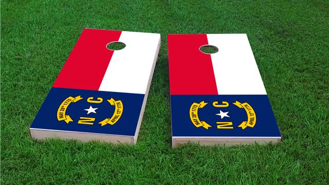 North Carolina State Flag Themed Custom Cornhole Board Design