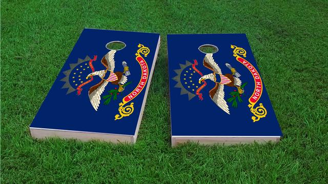 North Dakota State Flag Themed Custom Cornhole Board Design