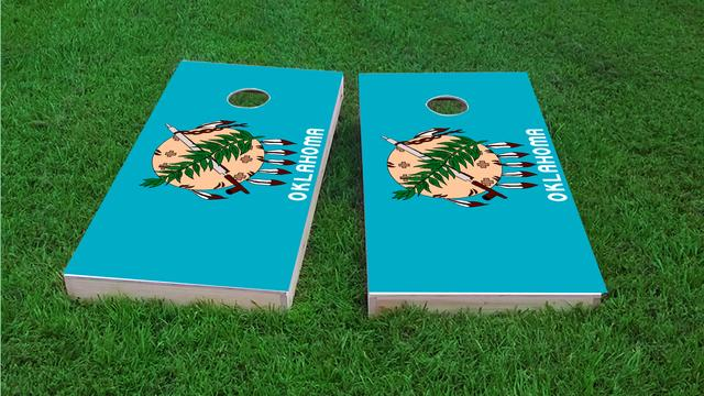 Oklahoma State Flag Themed Custom Cornhole Board Design