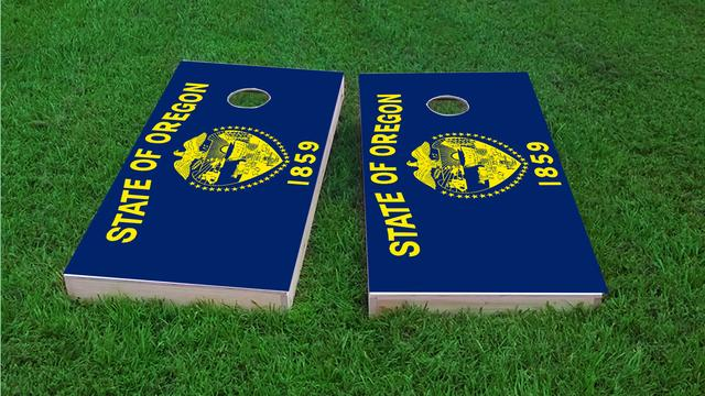 Oregon State Flag Themed Custom Cornhole Board Design