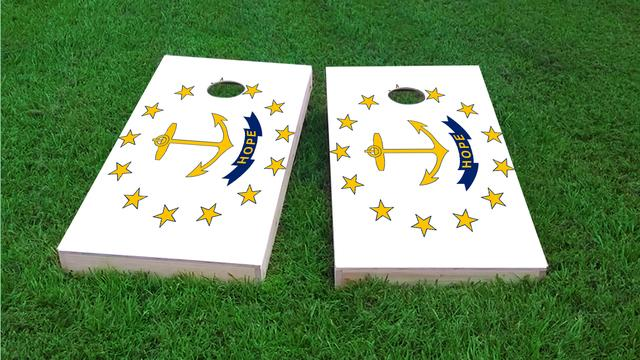 Rhode Island State Flag Themed Custom Cornhole Board Design