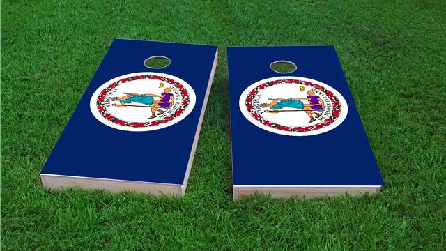 Virginia State Flag Themed Custom Cornhole Board Design