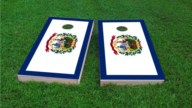 West Virginia State Flag Themed Custom Cornhole Board Design
