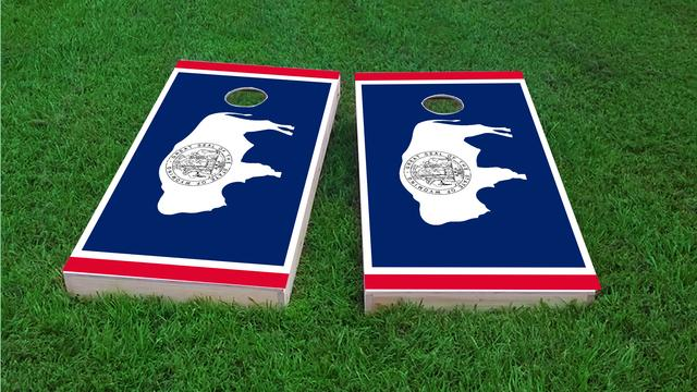 Wyoming State Flag Themed Custom Cornhole Board Design