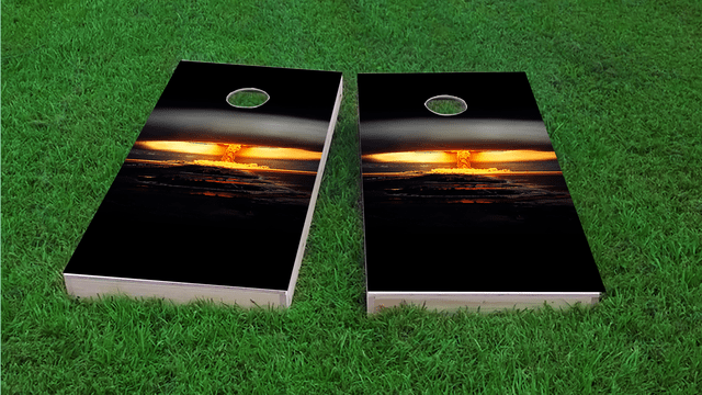 Nuclear Bomb Explosion Themed Custom Cornhole Board Design