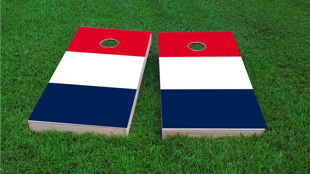 France National Flag Themed Custom Cornhole Board Design