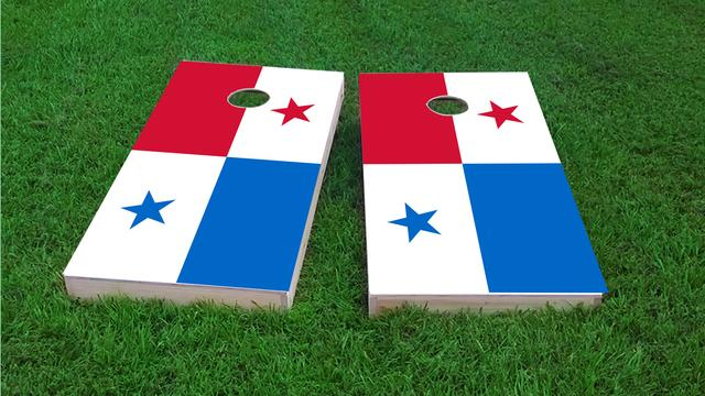 Panama National Flag Themed Custom Cornhole Board Design