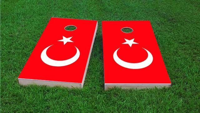 Turkey National Flag Themed Custom Cornhole Board Design