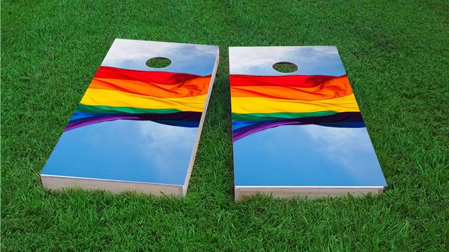 Gay Pride Rainbow Flag in the Sky Themed Custom Cornhole Board Design