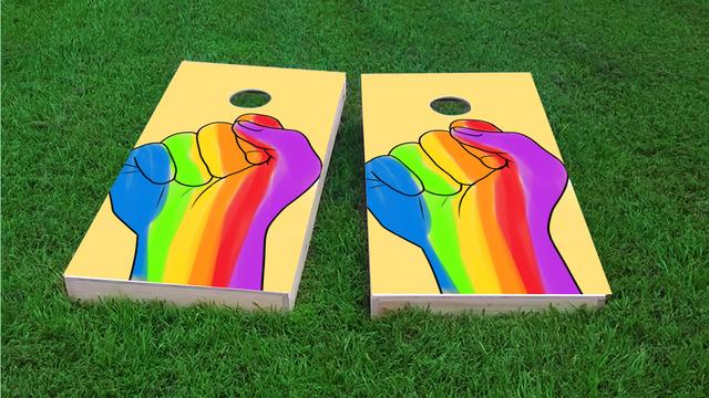 Gay Pride Rainbow Hand Themed Custom Cornhole Board Design