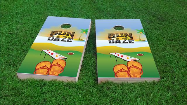 Sun Daze Themed Custom Cornhole Board Design