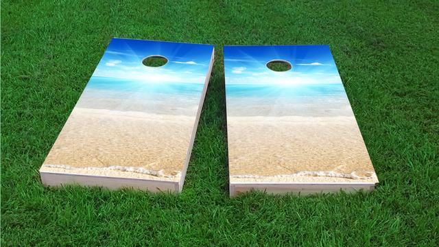 Sunny Day at the Beach Themed Custom Cornhole Board Design