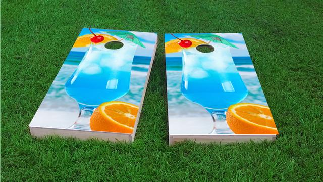 Blue Drink on the Beach Themed Custom Cornhole Board Design