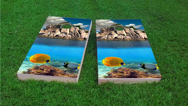 Tropical Coral Reef Themed Custom Cornhole Board Design