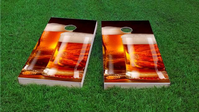 Double Beer Mug Themed Custom Cornhole Board Design