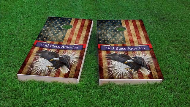 Bald Eagle - God Bless America Themed Custom Cornhole Board Design