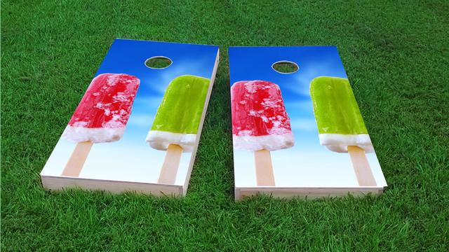 Popsicles 2 Themed Custom Cornhole Board Design