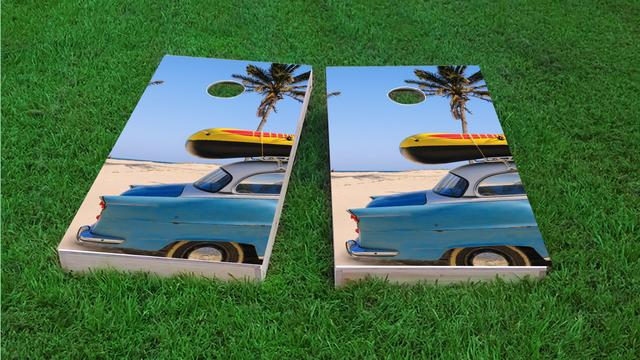 Beach Car Themed Custom Cornhole Board Design