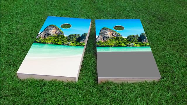 Mountain Beach Themed Custom Cornhole Board Design