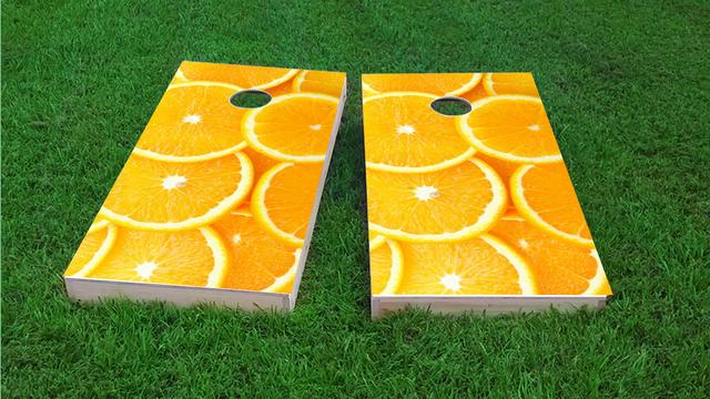 Oranges Themed Custom Cornhole Board Design