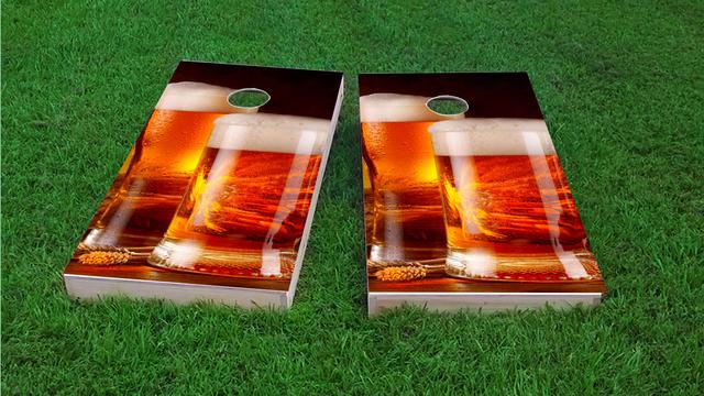 Double Beer Mugs Themed Custom Cornhole Board Design