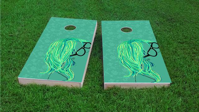 Girl with Glasses Themed Custom Cornhole Board Design