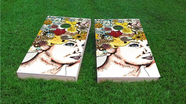 Lady with Flowers in Hair Themed Custom Cornhole Board Design