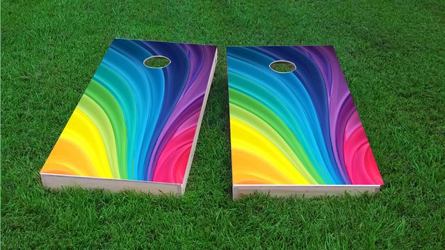 Rainbow Themed Custom Cornhole Board Design
