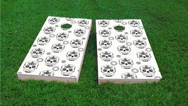 Sugar Skull Themed Custom Cornhole Board Design