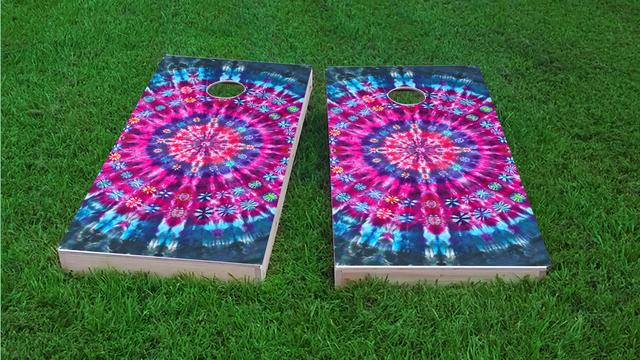 Tie Dye Themed Custom Cornhole Board Design