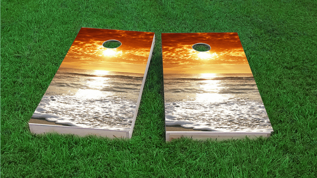 Beach Sunset 2 Themed Custom Cornhole Board Design
