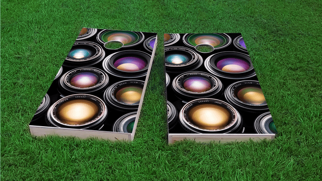 Camera Lenses Themed Custom Cornhole Board Design
