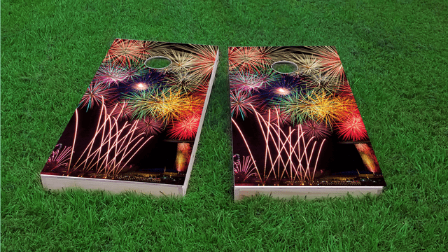 Fireworks Themed Custom Cornhole Board Design