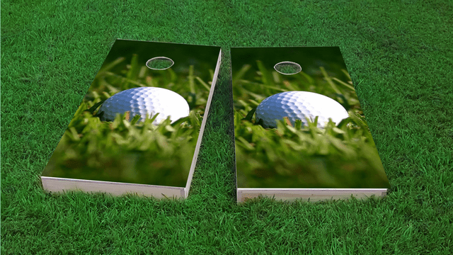 Golf Ball Themed Custom Cornhole Board Design