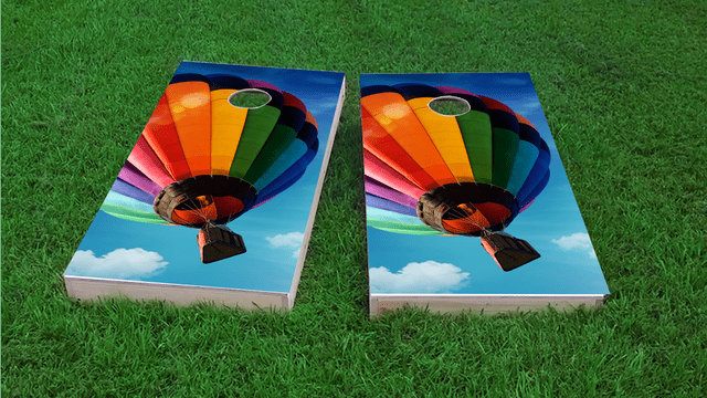 Hot Air Balloon Themed Custom Cornhole Board Design