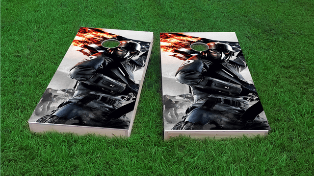 Military Flag Themed Custom Cornhole Board Design