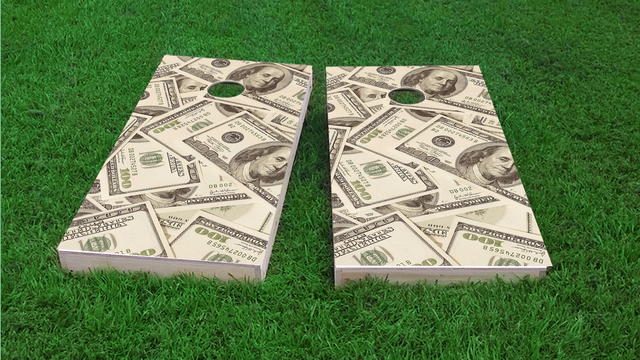 Money Themed Custom Cornhole Board Design