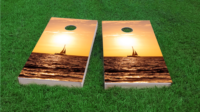 Sailboat Themed Custom Cornhole Board Design