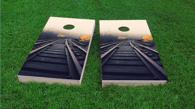 Train Tracks Themed Custom Cornhole Board Design