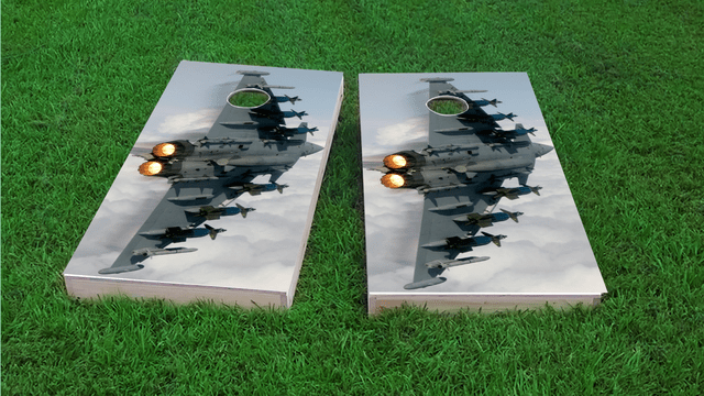 Aircraft in Blue Sky Themed Custom Cornhole Board Design