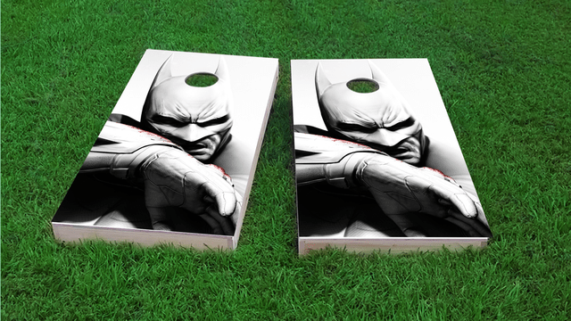 Batman in Black and White Themed Custom Cornhole Board Design