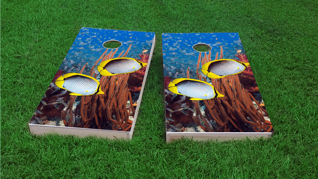 Tropical Fish Swimming Themed Custom Cornhole Board Design