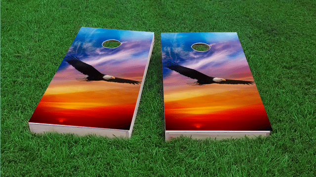 Flying Eagle in Sunset Themed Custom Cornhole Board Design