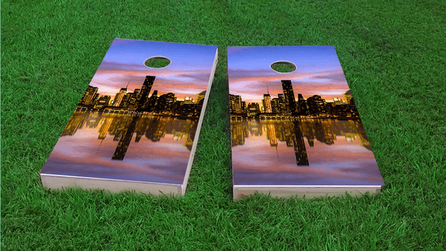 New York City at Sunset Themed Custom Cornhole Board Design