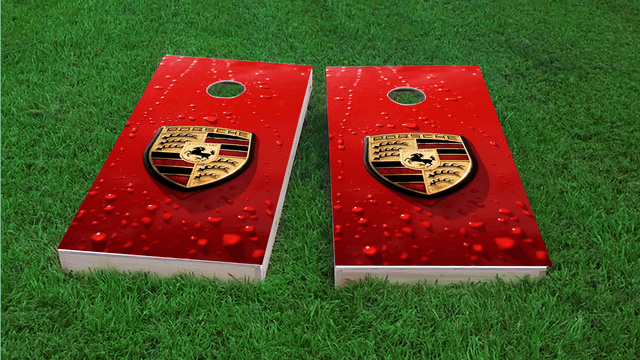 Porsche Logo Themed Custom Cornhole Board Design