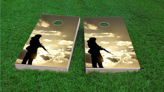 Soldier Silhouette at Dusk Themed Custom Cornhole Board Design