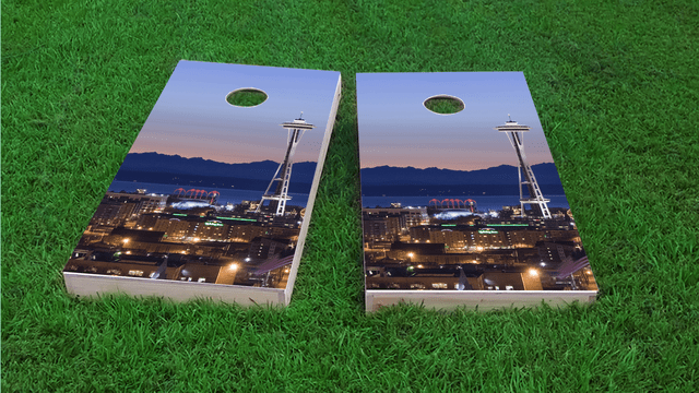 Seattle's Space Needle Themed Custom Cornhole Board Design