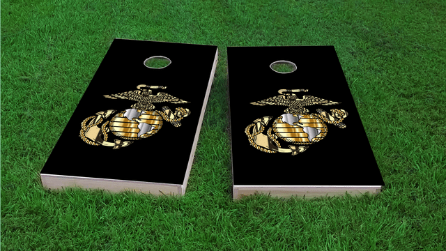 USMC Logo Themed Custom Cornhole Board Design